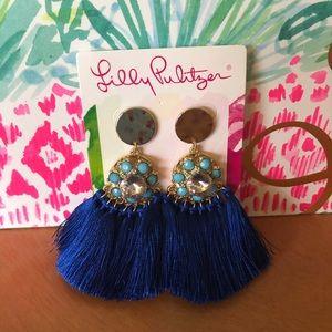 Lilly Pulitzer blue tassel earrings